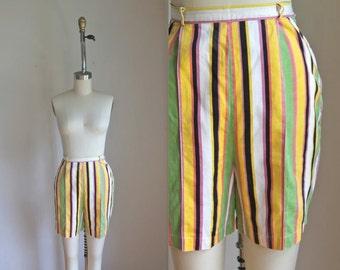50% OFF...last call // vintage 1950s striped shorts - COUNTY FIAR stripe high waist pants / M