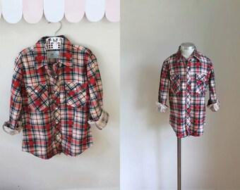vintage boy's plaid shirt - CABIN PLAID cotton flannel button down / 10-12yr