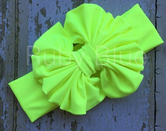 Neon Yellow Messy Bow Head Wrap - Pool Safe