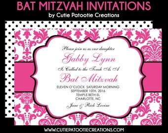 Pink Damask Bat Mitzvah Invitation - Rsvp Card - Celebration Reception Card - Thank You Note Cards - Custom Addressing - Use for Any Event
