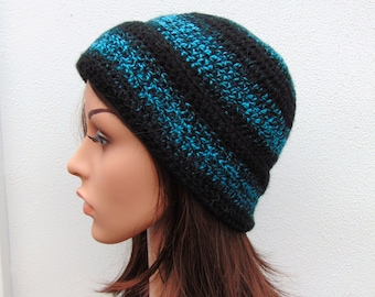 Crochet Hat, Beanie Hat, Black Turquoise Striped Hat, Women, Handmade in Ireland