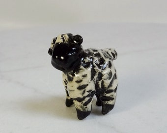 Sheep Terrarium Miniature - Handmade Figurine - Black Face Sheep - Pottery Sheep - Clay Animal - Peggy Hamlin - studio choice