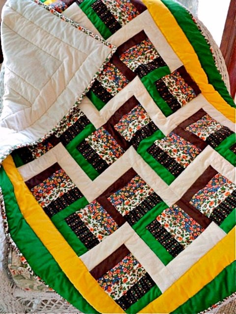 Quilted Rail Fence Lap Quilt Baby Quilt Sofa Throw Lap