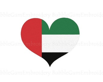 United Arab Emirates Flag Heart Embroidery Design Instant Download