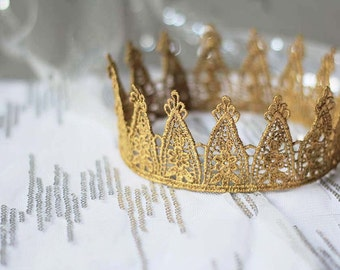 "Gold Crown - ""Party Princess"" - gold lace crown, fairytale, ballet crown, birthday crown, bridal crown, bachelorette party"