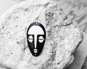 Mens Ring, Mens Jewelry, African Mask Ring, Mens Tribal Ring, For Him, Bone Mask, African Ring,  Mukanda African Mask Adjustable Bone Ring
