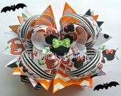 Halloween Minnie Mouse Trick or Treat Boutique stacked hair bow- Halloween Disney trip-Made by Maddie B's Boutique on Etsy