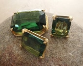 Smoky Green Glass Brooch and Earrings, Vintage