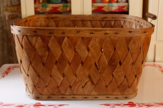 Large Antique Wood Woven Slat Laundry Basket With Turned Wood