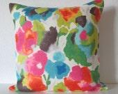Watercolor inspired floral tutti frutti colorful decorative pillow cover