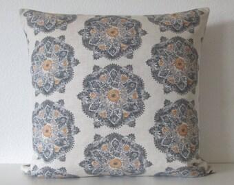 Suri Medallion Greystone gray ivory suzani decorative pillow cover