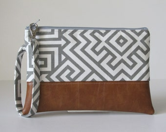 Grey  Wristlet Wallet, iPhone wallet, Vegan Leather Clutch Purse, Cellphone Wristlet, Boho Zipper Pouch, Boho Clutch,Gift For Her