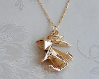 Rabbit Necklace, Gold Necklace, Origami 3D Rabbit Pendant