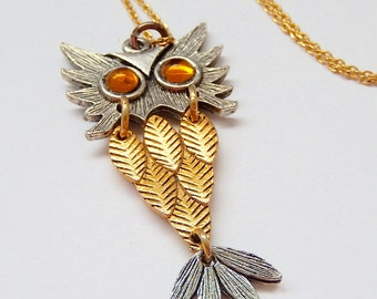 Small Owl Necklace, Vintage Hinged Necklace, Gift for Her