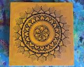 Handpainted Black Mandala on Bright Yellow and Peach Birch Plywood