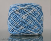 Hand Dyed Organic Cotton Yarn - 5oz Worsted - Blue and Natural