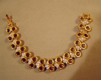 Vintage Nina Ricci Yellow Gold Tone Rhinestone Link Bracelet With Repair  8007