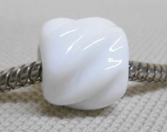 SRA, Glass Large Hole Lampwork Bead - Fits European Charm Bracelets, Textured Cylinder Bead, White