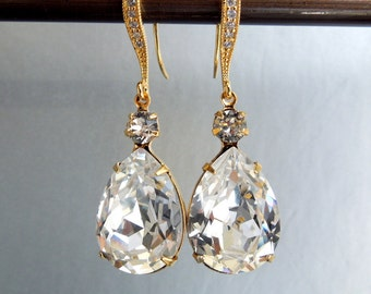 Crystal Swarovski Earrings Bridal Rhinestone Earrings teardrop earrings Statement Bridal Earrings Swarovski Crystal wedding Earrings ARIA