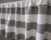 Curtain, Valance, Window Curtain, Gray and White Horizontal Stripe Curtain Valance 50 x 18