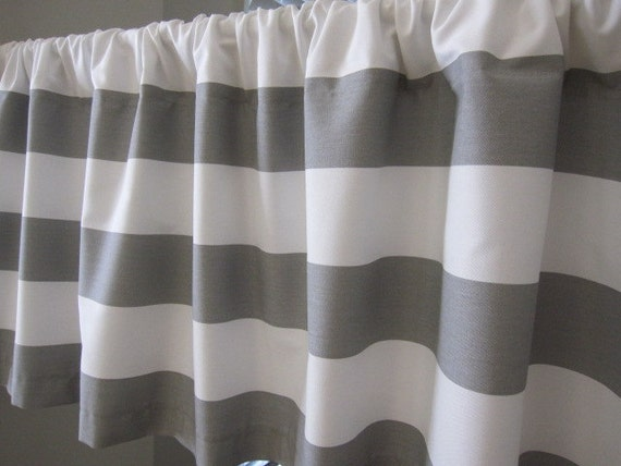 Gray And White Horizontal Stripe Curtain Valance 50 X 18