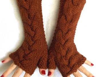 Fingerless Gloves Knitted Wrist Warmers Copper Brown Cabled Soft Warm