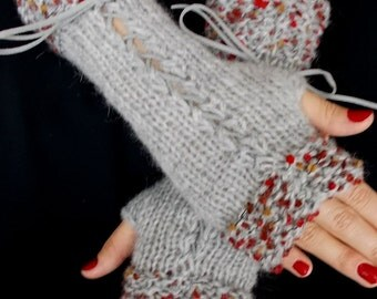 Grey Fingerless Gloves Corset Wrist Warmers with Suede Ribbons for Women