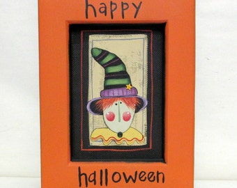 Halloween Witch, Green and Black Striped Hat, Happy Halloween Sign, Framed in Orange, Halloween Decoration, Hand Crafted Wood Frame