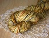 Hand Dyed Sock Yarn / Gold Golden Silver Pewter Grey Patina / Superwash Merino Wool Nylon Fingering Weight