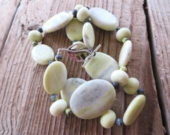 Oval Lemon Jasper Beaded Necklace