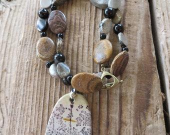 Painting Jasper Onyx and Caramel Toned Jasper Beaded Necklace with Pendant