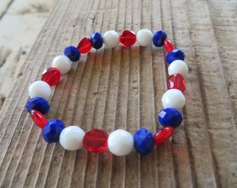 University of Arizona Inspired Red White and Blue Glass Beaded Bracelet