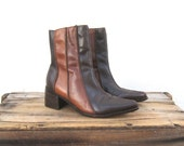 Chelsea Ankle Boots Color Blocked Brown Leather Ladies Size 7