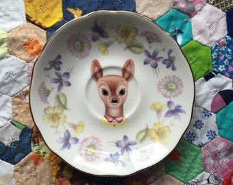 Little Doe with Soft Pastel Floral Vintage Illustrated Plate