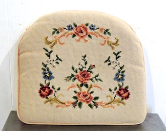 vintage needlepoint cushion - 1950s-60s pink floral seat cushion