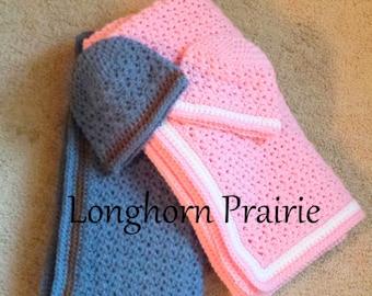 Baby Jesse Blanket & Hat crochet PATTERN PDF (instant download)