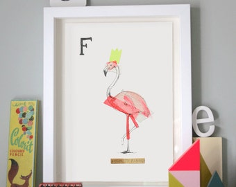 Fantastic Flamingo, Animal Alphabet Gicleé print with Neon Tape