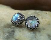 Rose Cut 6mm Rainbow Moonstone Crown Bezel Sterling Silver Post Earrings - NEW DESIGN