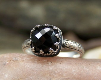 Midnight Rose Cushion - 8mm Rose Cut Black Melanite Garnet with Heart Crown Bezel Setting