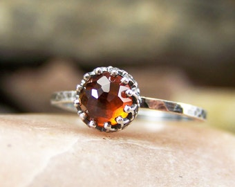 Rose Cut 6mm Hessonite Garnet Ring in Sterling Silver with Crown Bezel and Hammered Band - NEW DESIGN - Ama-Terasu II