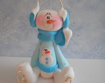 FREE SHIPPING! Polymer Clay Snowman Wearing a Snowman Sweater and Skates - FIGURINE Helen Terlalis Dorn Clay Babies winter collectible scarf