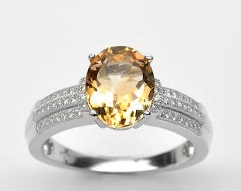 Handmade Natural Gemstone Jewelry, Genuine Yellow Citrine Sterling Silver Ring  FD5C0523 RIS11-CIT335