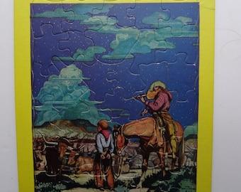 Vintage Cowboy Press Puzzle 1950s
