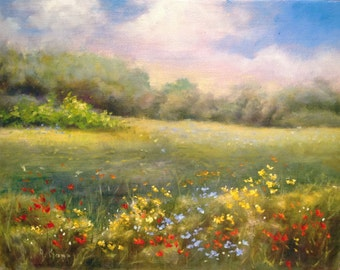 Wildflower Meadow 8x10 inch oil painting by Alexandra Kopp