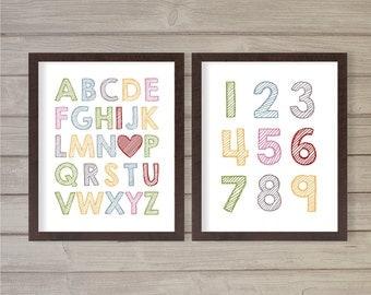 Alphabets ABCs and Numbers I Heart U Nursery Wall Art Printable - Colorful Rainbow 8x10- Instant Download Digital Print Baby Kids Room Decor
