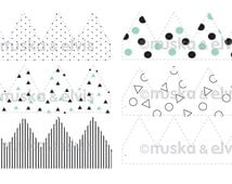 Printable Crowns / Dress Up - Black/white/mint spots, stripes, triangles & blank to colour in
