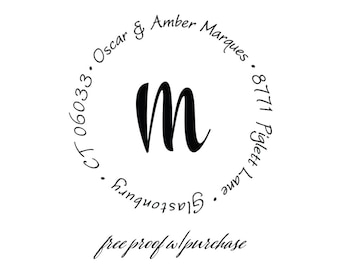"""Monogram Return Address Stamp with a handwriting & script font.  Mounted with Handle or Self-inking Return Address Stamp  (20348)  2"""""""