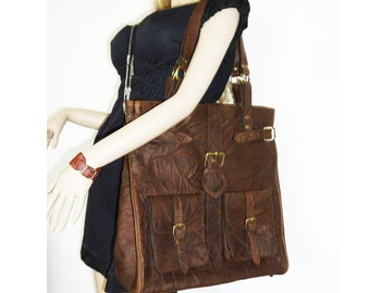 Oversized Distressed Leather Tote Handbag Cross-body Bag Orea XXL in vintage brown fits a 17 inches laptop