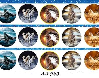 "Set of 15  1"" Digital Bottle Cap Images  Horses AA 943"