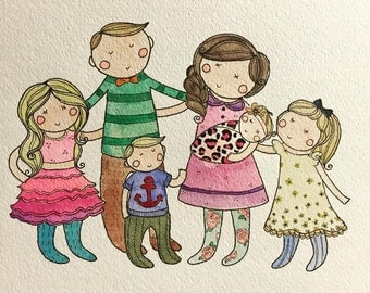 Buy 1, get 1 free! Custom Family Watercolor Portrait Unique Gift  Illustration